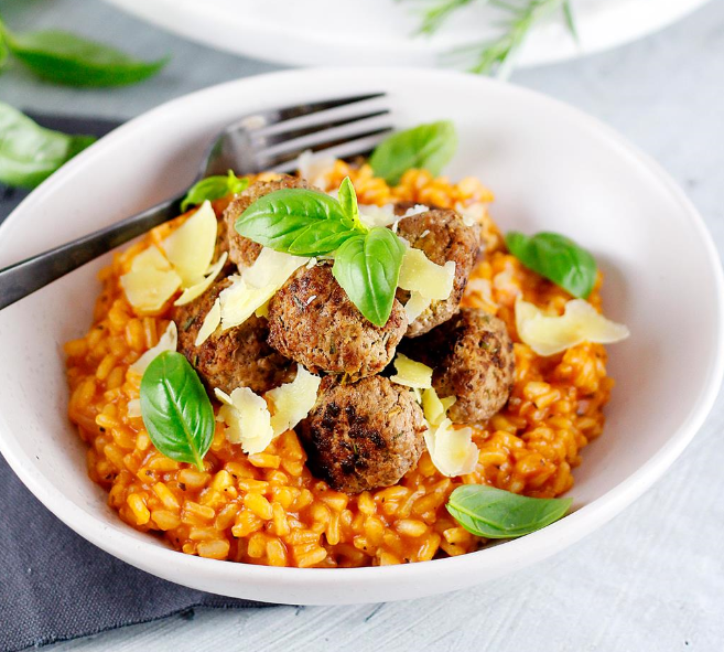 tomato and meatball risotto